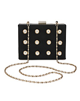 Pearl Detail Box Clutch Bag