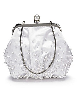 Pearl Detail Satin Clutch Bag