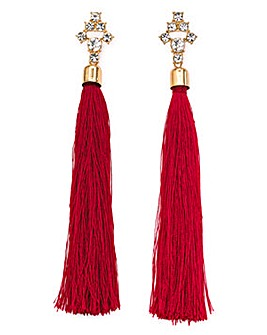 Rhinestone Dark Red Tassel Drop Earrings
