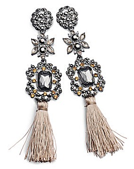 Rhinestone And Tassel Earrings