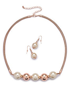Pearl and Rose Gold Set