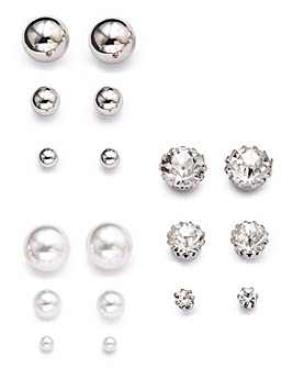 Pearl and Rhinestone Stud Pack Earrings