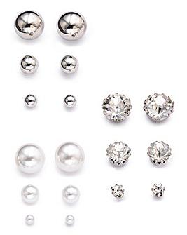 Pearl and Rhinestone Stud Pack Earrings
