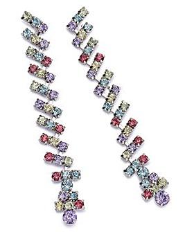 Multi Coloured Rhinestone Drop Earrings