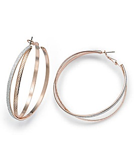 Twisted Large Glitter Hoop Earrings