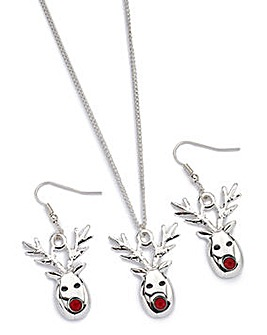 Reindeer Necklace And Earrings Set