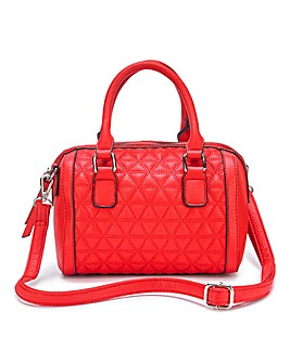 Red Quilted Mini Bowler Bag