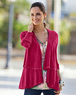 Together Stud Trim Layered Cardigan
