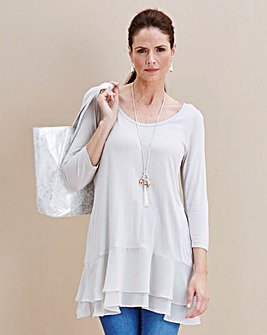 JOANNA HOPE Jersey Layered-Hem Tunic