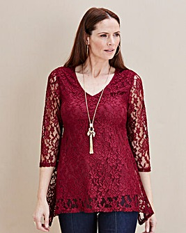 JOANNA HOPE Lace Hanky Hem Tunic