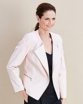 JOANNA HOPE Lace-Trim Pu Jacket