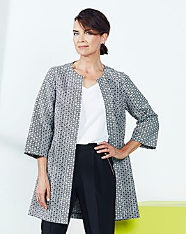 Floral Jacquard Edge-to-Edge Jacket