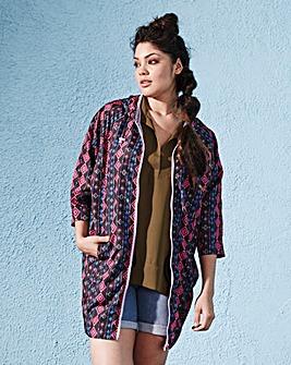 Aztec Print Cocoon Festival Jacket