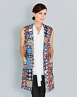 Folk Print Sleeveless Crepe Jacket