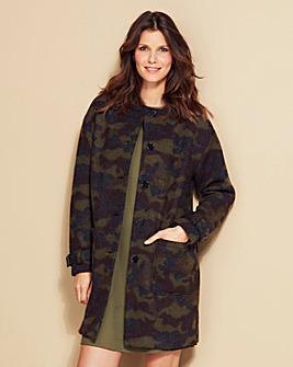 Collarless Wool Mix Camo Print Coat