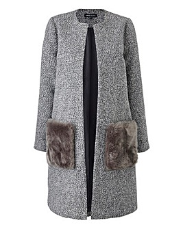 Collarless Faux Fur Pocket Coat
