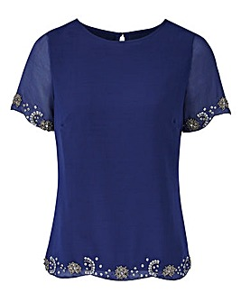 JOANNA HOPE Bead Trim Blouse
