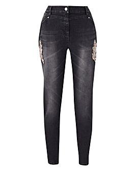JOANNA HOPE Diamante Trim Jeans
