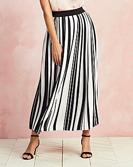 Striped Pleat Maxi Skirt
