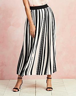 Striped Pleat Maxi Skirt