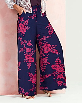 Print Super Wide Flared Leg Trousers Reg