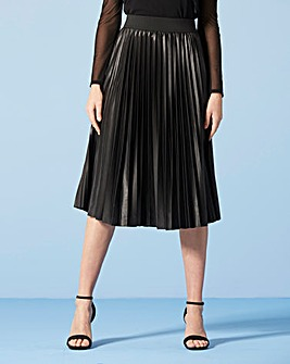 Wet Look Sunray Pleat Midi Skirt