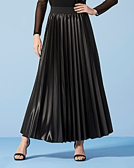 Wet Look Sunray Pleat Maxi Skirt