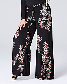 Print Super Wide Flared Leg Trousers Sht
