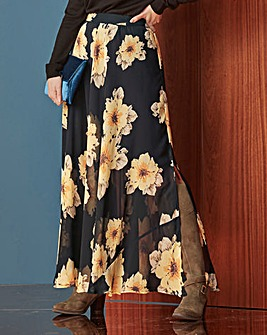Floral Print Double Split Maxi Skirt