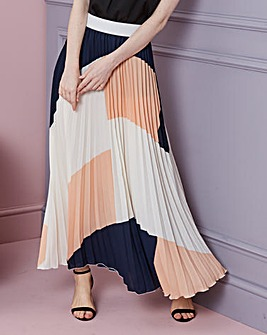 Colour Block Pleat Maxi Skirt