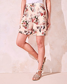 Floral Print Crepe Stretch Shorts
