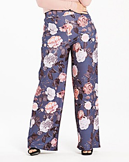 Floral Print Wide Leg Trousers Regular