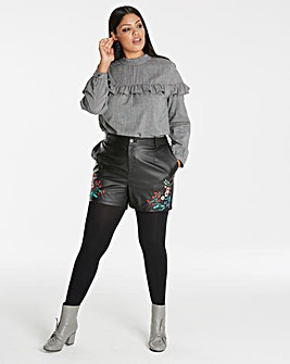 Embroidered PU Shorts