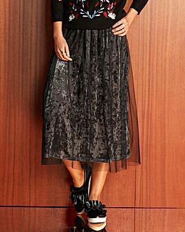 Mesh Covered Velour Midi Skirt