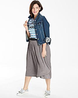 Pleat Asymmetric Hem Skirt