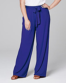 Tie Waist Wide Leg Jersey Trousers Short