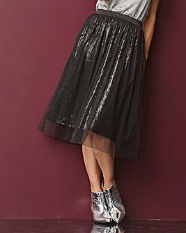 Tulle Overlay Sequin Midi Skirt