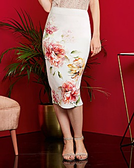 Floral Print Stretch Scuba Pencil Skirt
