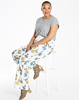 Print Slouch Linen Mix Trousers Reg