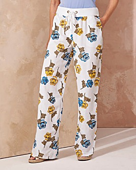 Print Slouch Linen Mix Trousers Long