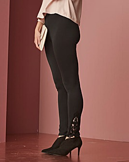 Crochet Lace Trim Leggings Reg