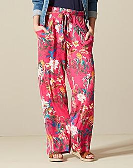 Print Tie Waist Wide Jersey Trouser Sht