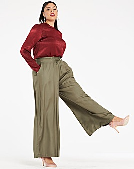 Wide Leg Lace Up Waist Trousers Reg