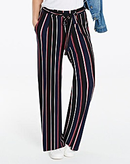Stripe Wide Leg Tie Waist Trousers Long