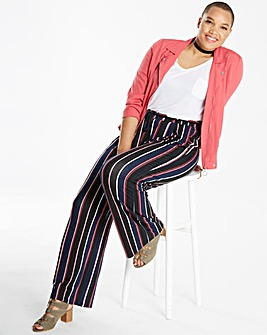 Stripe Wide Leg Tie Waist Trousers Reg