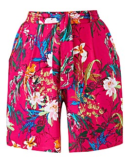 Floral Print Jersey Tie Waist Shorts
