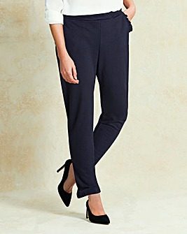 Frill Trim Crepe Trousers Regular