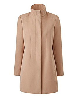 Plain Funnel-Neck Coat