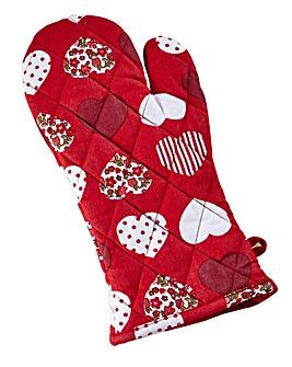 Red Folk Oven Glove