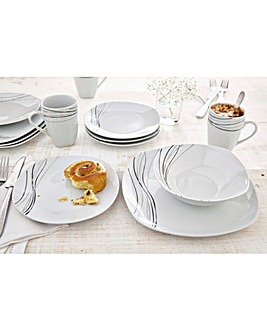 Monochrome Waves Square 24pc Dinner Set